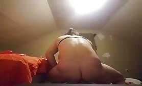Using new sex toy to masturbate
