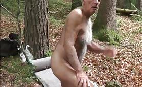 Fucking his older boyfriend in a forest