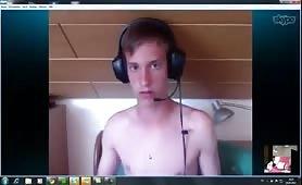 Young 19yo boy self sucks on webcam