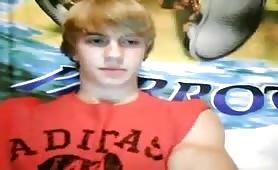 Blond teen boy jerking off on webcam for his girlfriend