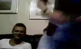 Two gay teen boyfriends jerking off on webcam with a girl