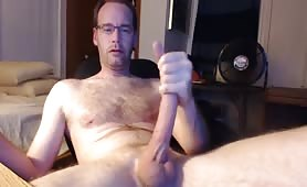 German Mature Man Stroking His Huge Erect Cock