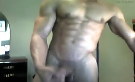 Muscular Latino Boy Jerking Off In Front Of Webcam