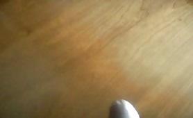 Huge cumshot on a wooden table