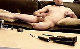 Playing on webcam with his cock