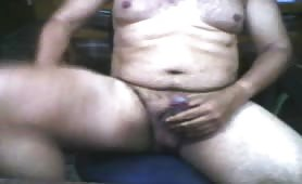 Chubby guy jerking off