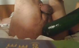 Old guy masturbating solo in bedroom