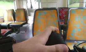 He's jerking off in train