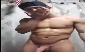 Muscular mexican guy jerking off