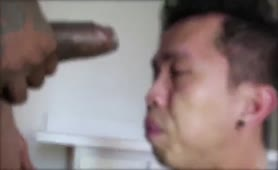 Asian guy takes black monster cock