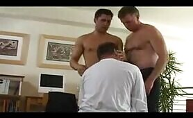 Lusty mature gay daddies enjoying threesome fuck with horny stud